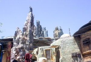 The Black Spires of Black Spire outpost reach for the sky on the planet Batuu at Disneyland's Star Wars: Galaxy's Edge. Photo by Mark Eades.