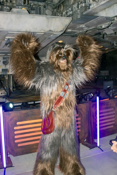 The mighty Chewbacca roars underneath the Millennium Falcon, which he has loaned to Hondo Ohnaka to help get supplies for the Resistance. Photo by Mark Eades.