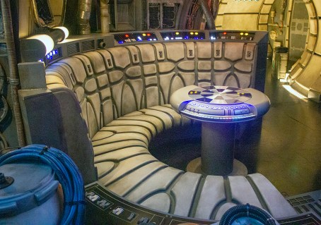 The famous room inside the Millennium Falcon where the game board sits, and folks can relax while traveling in hyperspace. Photo by Mark Eades.