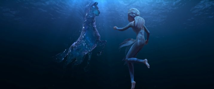 "In Walt Disney Animation Studios' ""Frozen 2, Elsa encounters a Nokk—a mythical water spirit that takes the form of a horse—who uses the power of the ocean to guard the secrets of the forest. Featuring the voice of Idina Menzel as Elsa, ""Frozen 2"" opens in U.S. theaters November 22. ©2019 Disney. All Rights Reserved."