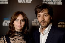 LONDON, ENGLAND - JULY 15: Felicity Jones and Diego Luna attend the Star Wars Celebration at ExCel on July 15, 2016 in London, England. (Photo by Ben A. Pruchnie/Getty Images for Walt Disney Studios) *** Local Caption *** Felicity Jones; Diego Luna