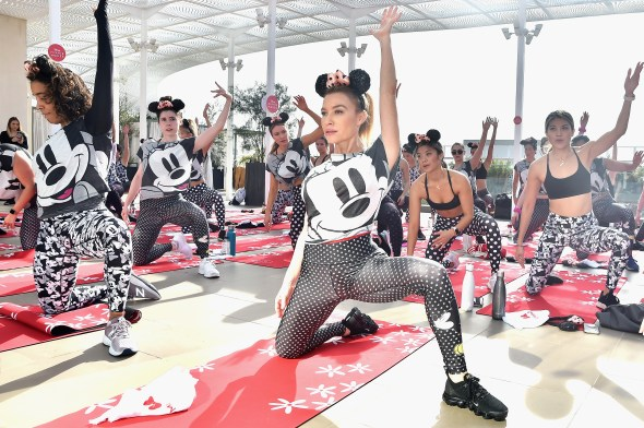 BEVERLY HILLS, CA - JANUARY 18: Fitness class led by Tracy Anderson, in celebration of Minnie Mouse & National Polka Dot Day, with Terez & Pressed Juicery at Spring Place on January 18, 2019 in Beverly Hills, California. (Photo by Stefanie Keenan/Getty Images for Disney)