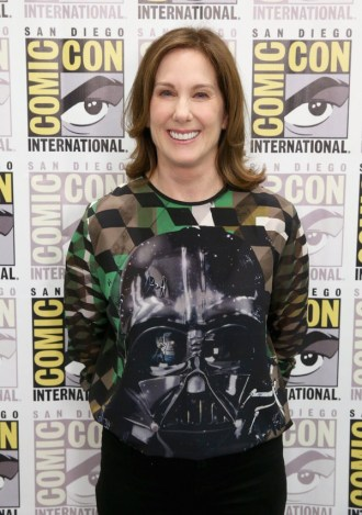 """SAN DIEGO, CA - JULY 10: Producer Kathleen Kennedy at the Hall H Panel for """"Star Wars: The Force Awakens"""" during Comic-Con International 2015 at the San Diego Convention Center on July 10, 2015 in San Diego, California. (Photo by Jesse Grant/Getty Images for Disney) *** Local Caption *** Kathleen Kennedy"""
