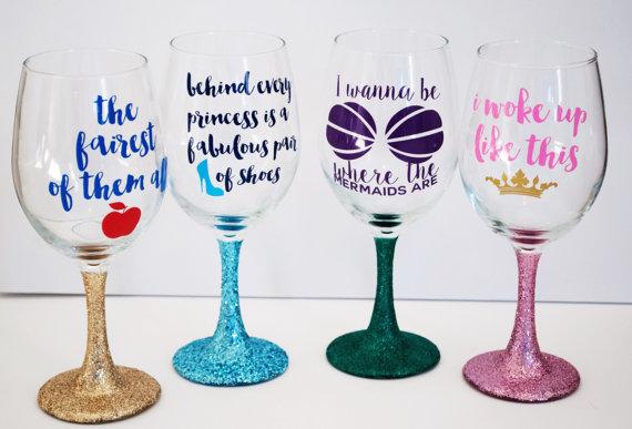 Disney Etched Wine Glasses