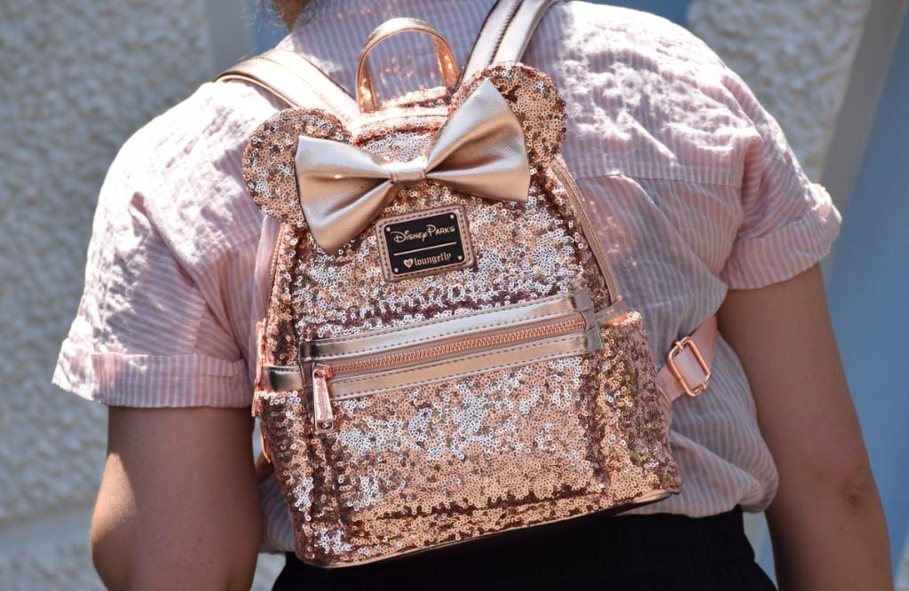 e95caf5b0a2 Disney Parks Loungefly Rose Gold Minnie Mouse Sequin Backpack - Updated  Style