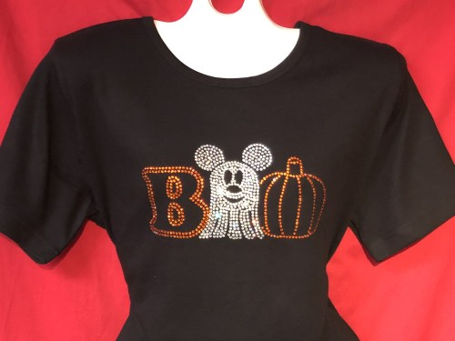 """8ddec759 I just absolutely adore how the Mickey Ghost and Pumpkin design make up the  """"OO""""s in the """"BOO"""" on this tee. The contrast of the orange B and orange  pumpkin ..."""