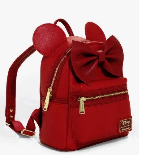 ce68f0659a Check out their latest ear backpack! The Loungefly Disney Minnie Mouse Red  Ears Mini Backpack is modeled after Minnie Mouse and her signature style.