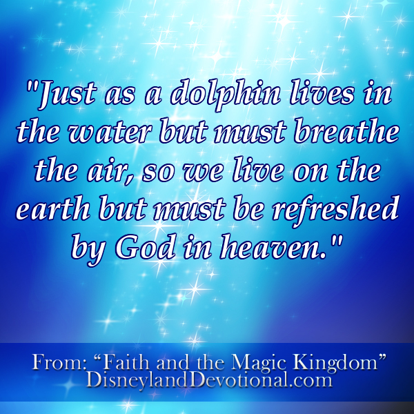"""Just as a dolphin lives in the water but must breathe the air, so we live on the earth but must be refreshed by God in heaven."""