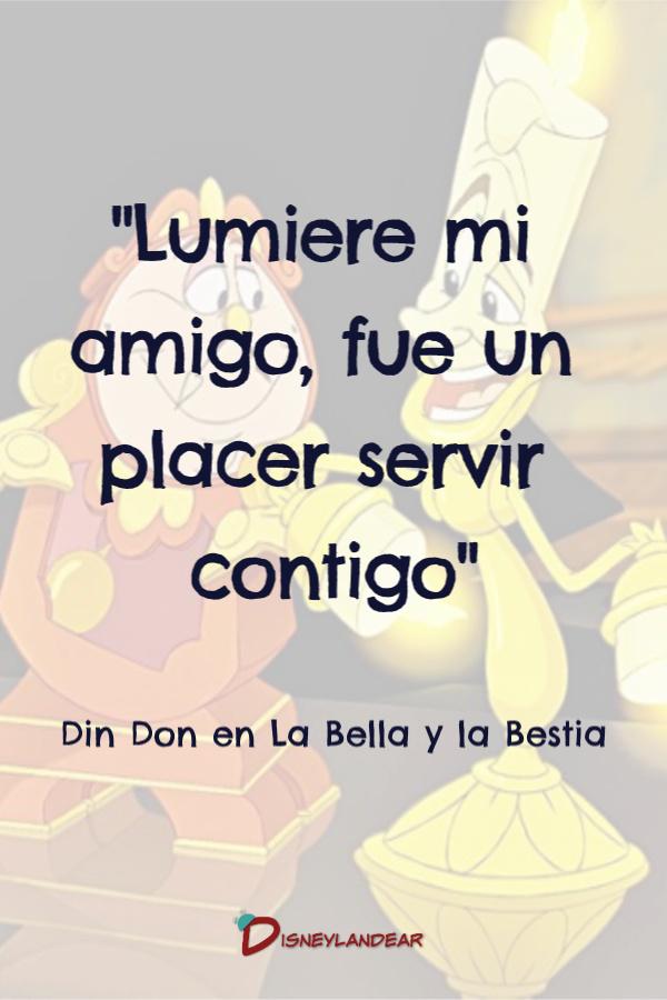 Frase de Din Don a Lumiere de la película La Bella y la Bestia