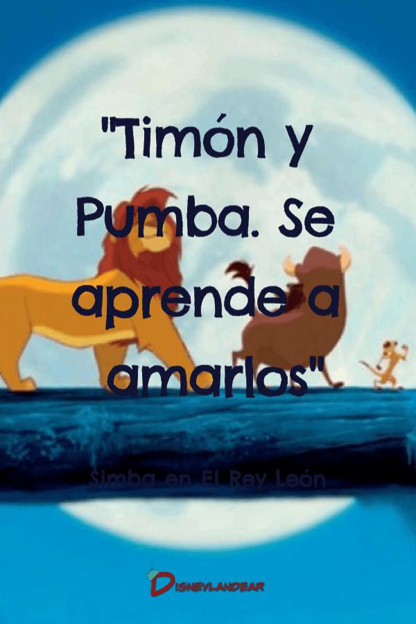 """Frase de amistad del Rey León que dice """"Timón y Pumba. Se aprende a amarlos"""""""