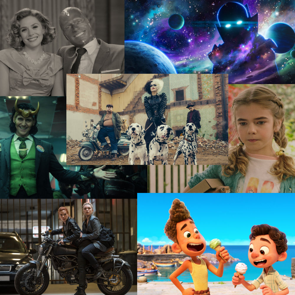 collage con fotos de películas y series de Disney 2021