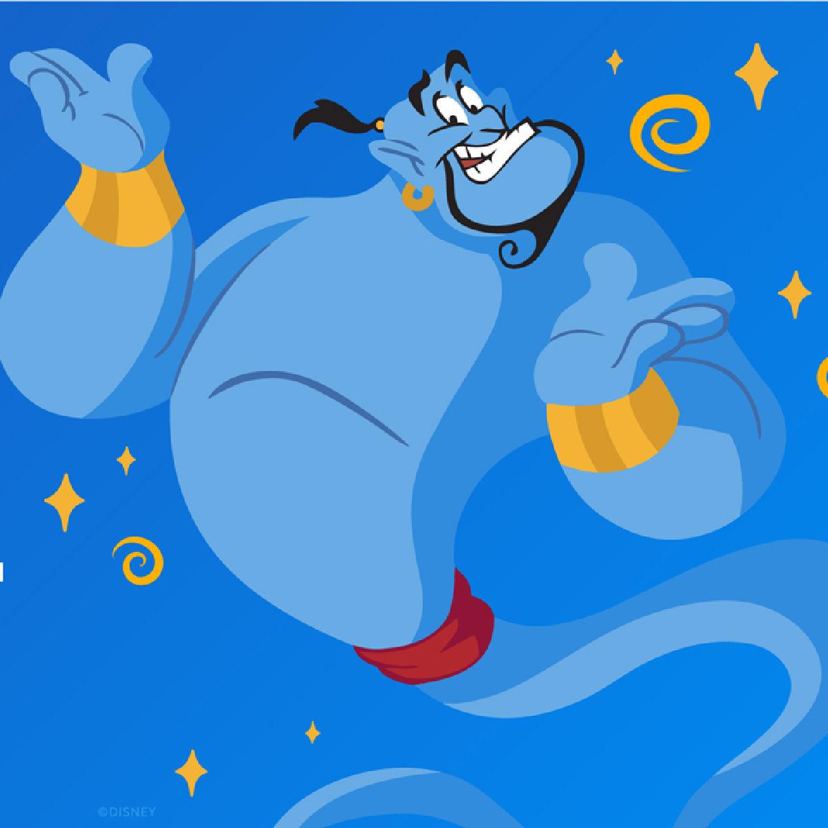 Disney Genie en fondo azul