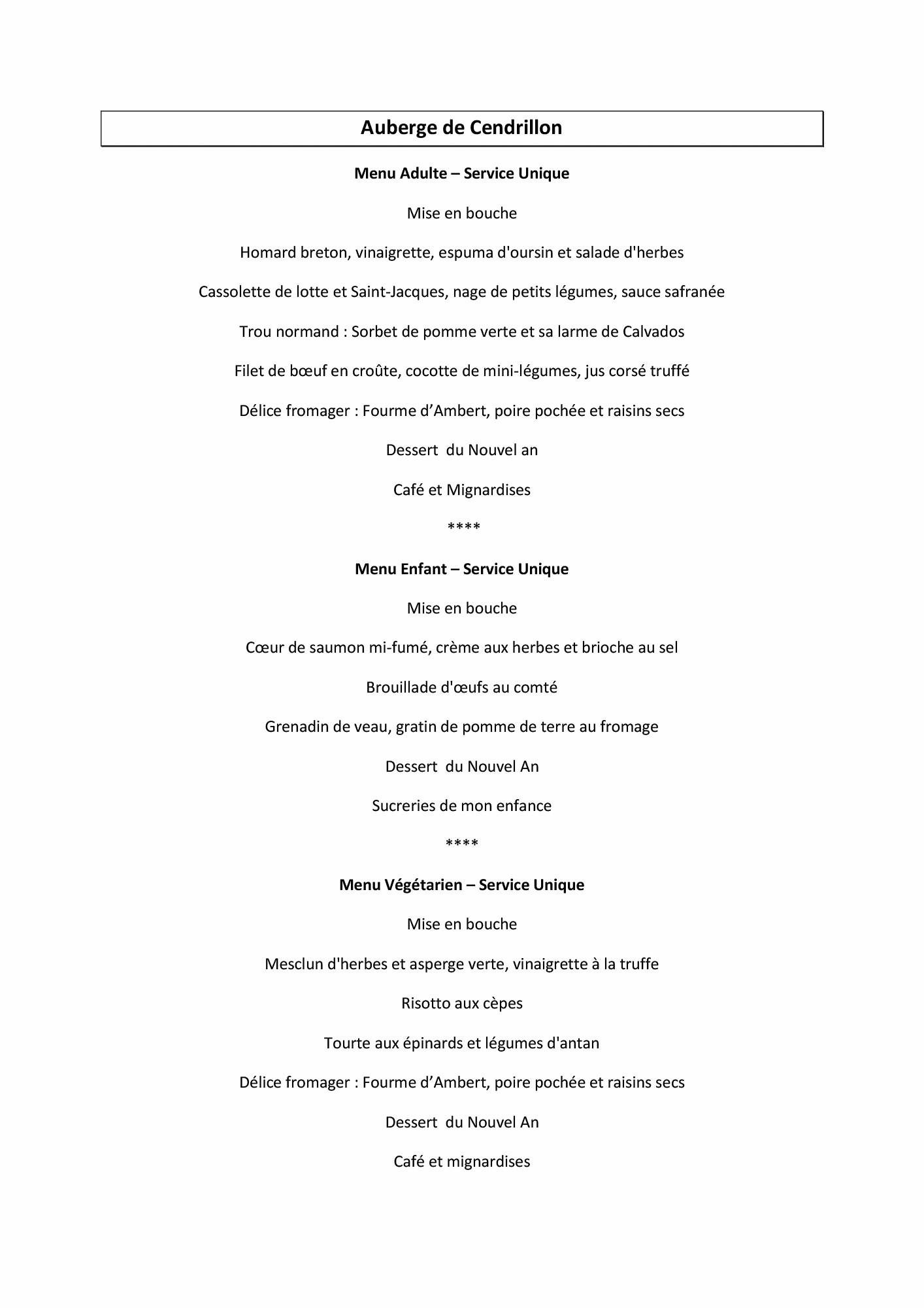 menu reveillon nouvel an 2016 disneyland paris auberge