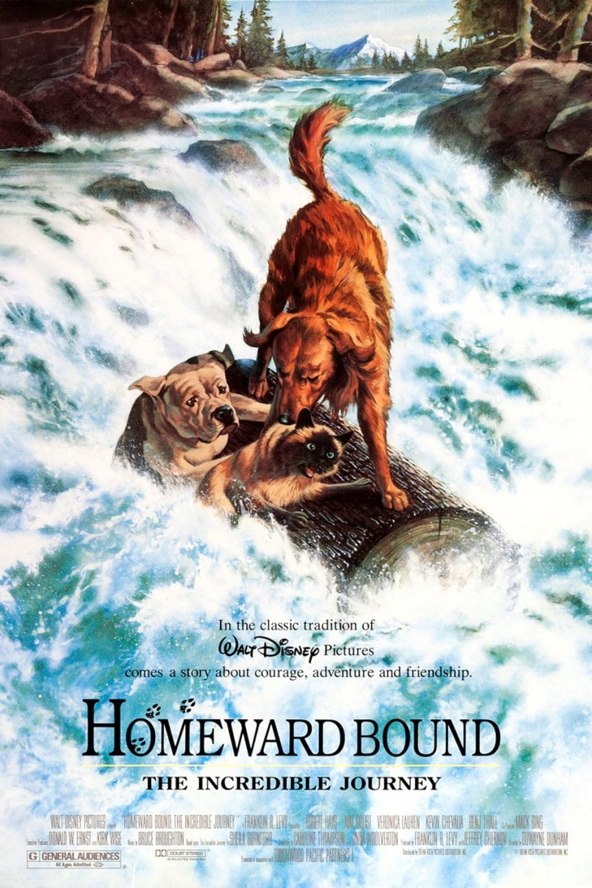"Poster for the movie ""Homeward Bound: The Incredible Journey"""