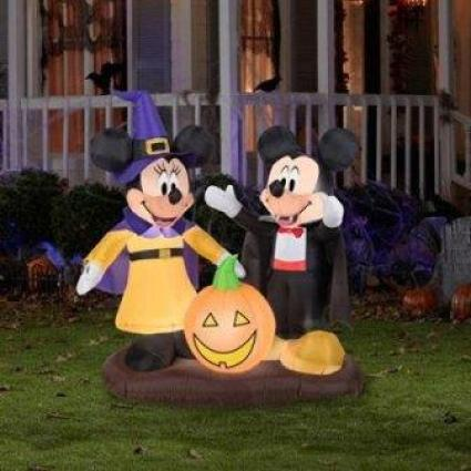 disney halloween decorations 4.5' Tall Mickey and Minnie Pumpkin Halloween Airblown Inflatable