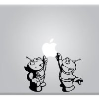 Toy Story Alien Little Green Men Touching Apple Macbook Decal