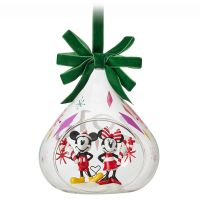 Mickey and Minnie Mouse Glass Drop Christmas Ornament
