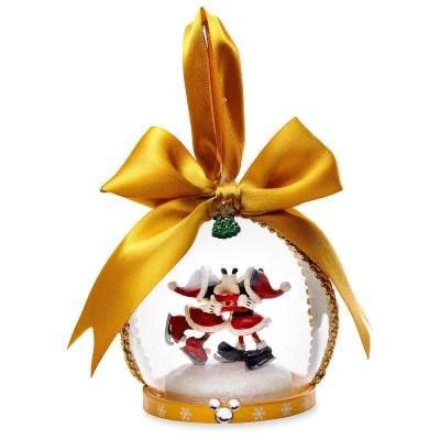 Santa Mickey and Minnie Mouse Glass Globe Christmas Ornament