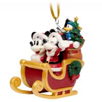 Santa Mickey and Minnie Mouse in Sleigh Christmas Ornament