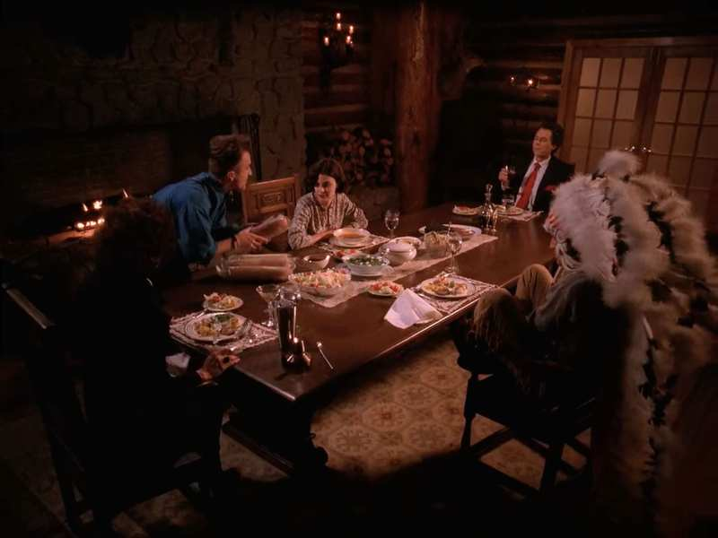 the Horne family have dinner at the table