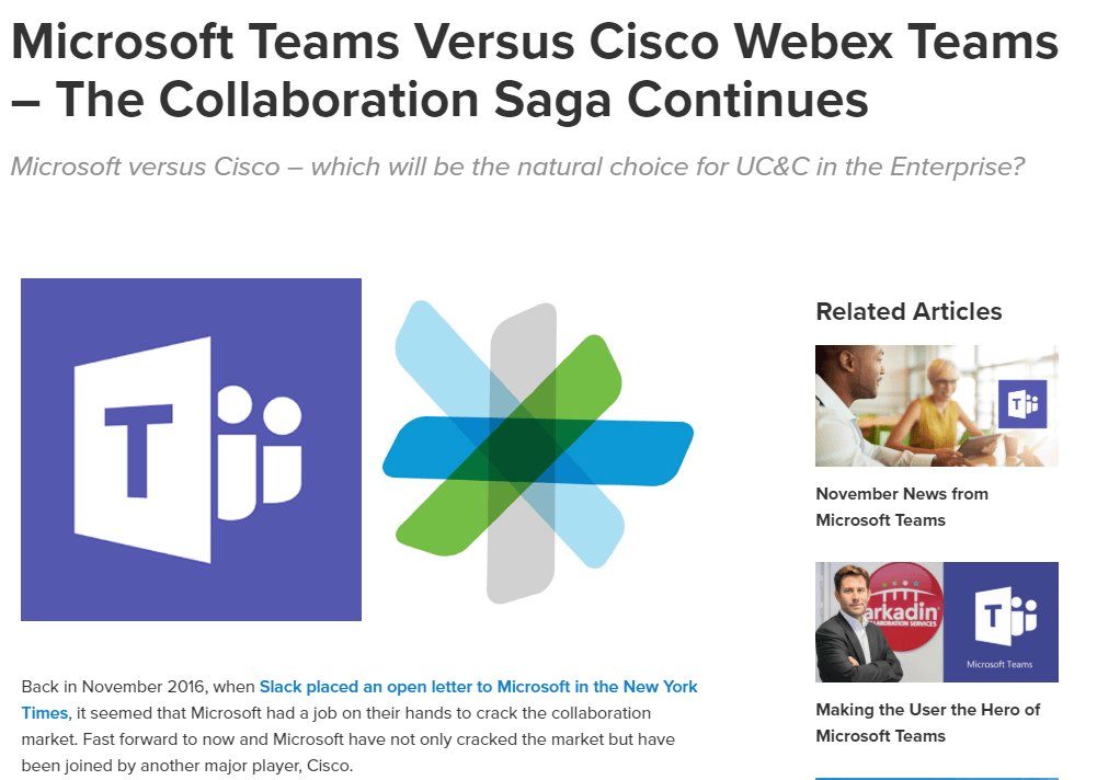 Microsoft Teams vs Cisco Webex Teams