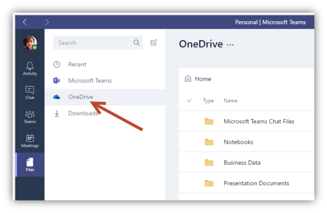 Microsoft Teams integration with OneDrive