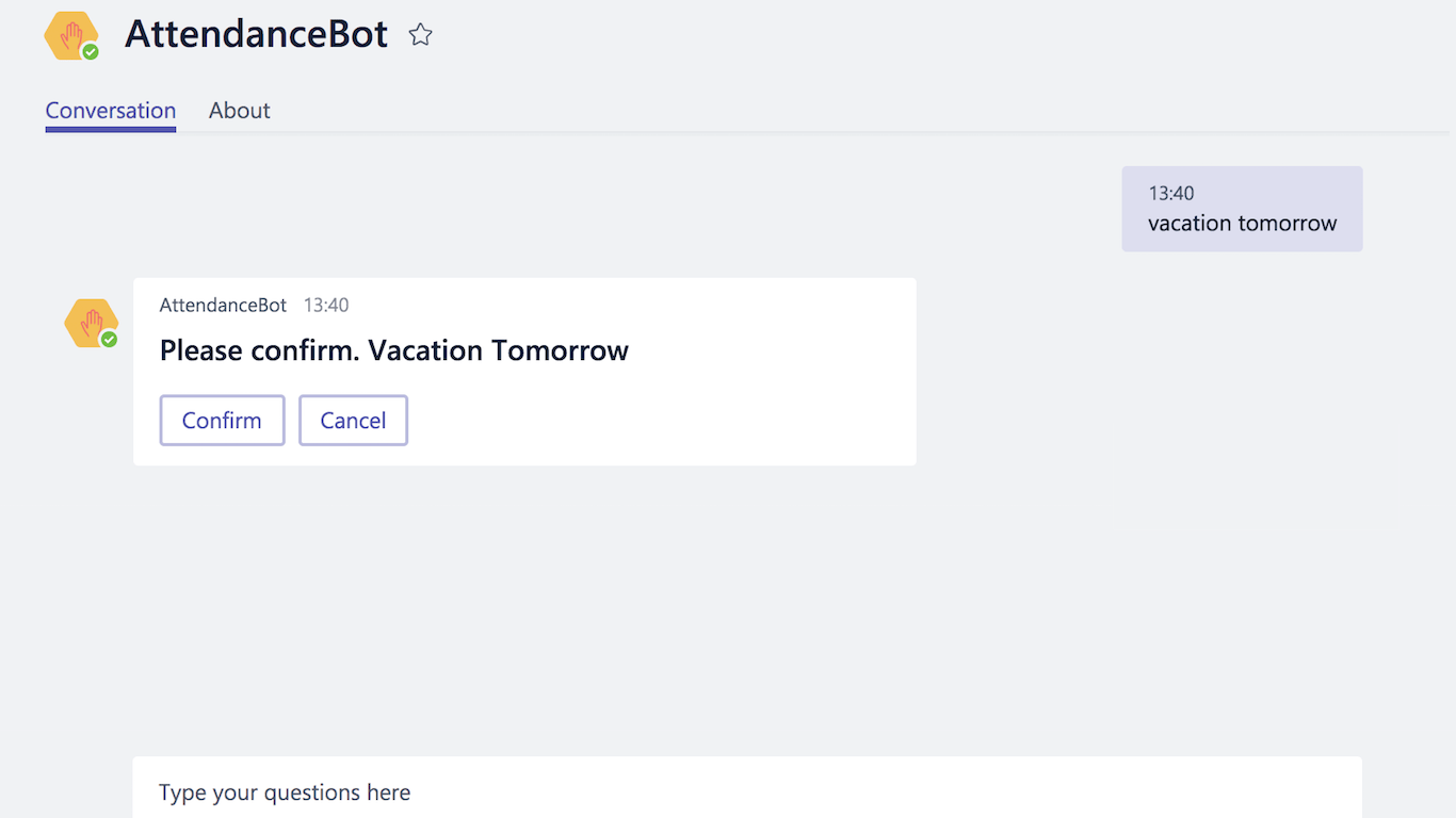 AttendanceBot Microsoft Teams integrations