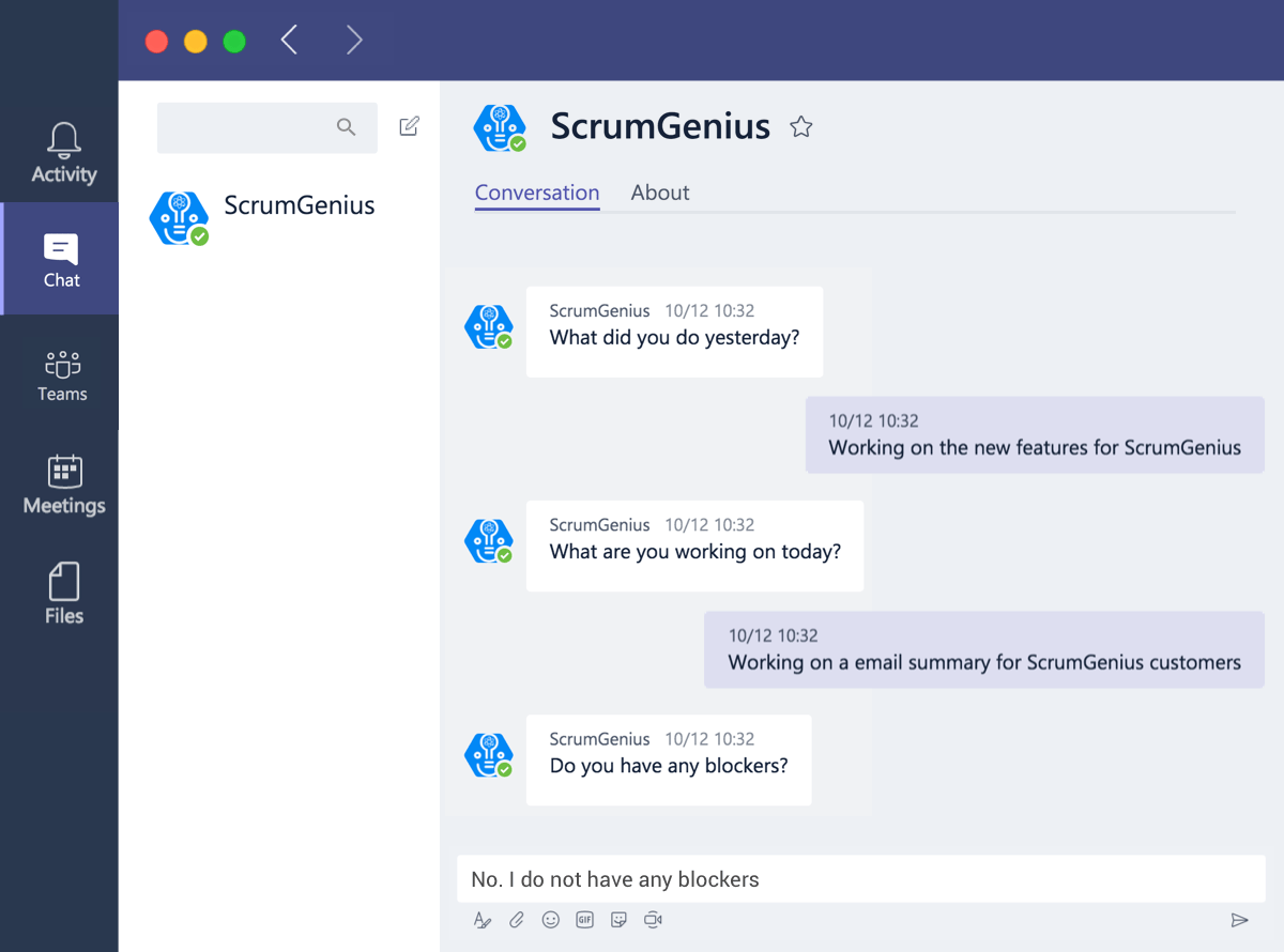 ScrumGenius Microsoft Teams integrations