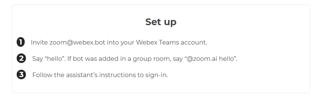 Zoom.ai Webex Teams integrations