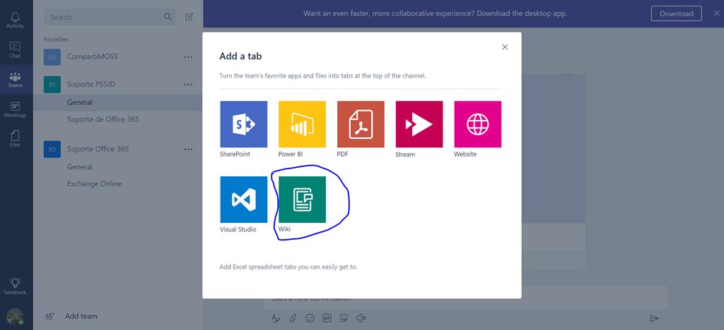 Microsoft Teams tabs example