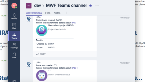 Jira in Microsoft Teams