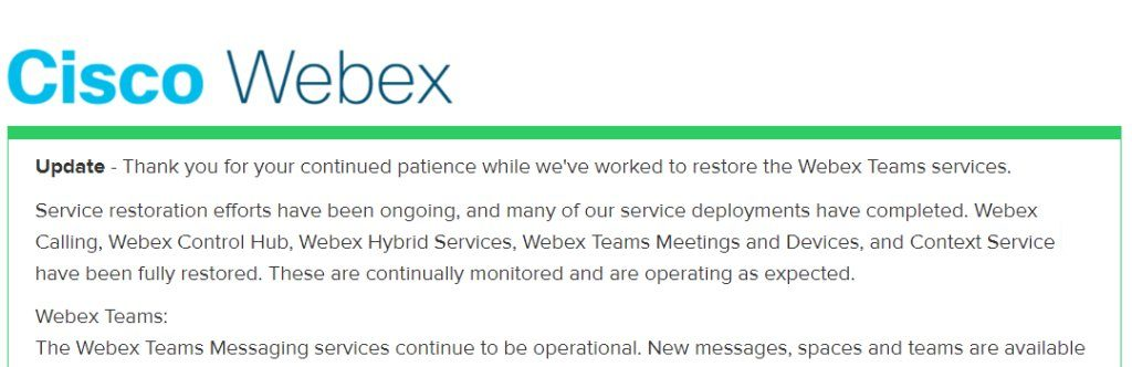 Cisco outage announcement
