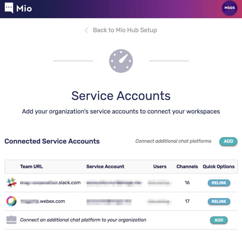 Mio Service Accounts