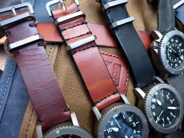 Mahogany leather, minimal stitch, raw edge (left), Cognac leather, full stitch, sealed edge (center), Pitch black leather, minimal stitch, sealed edge (right).