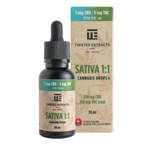 Twisted Extracts - Sativa 1:1 Cannabis Oil Drops (150mg THC + 150mg CBD)