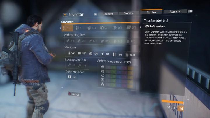 Tom Clancy's The Division™ Beta Inventar - Taschen