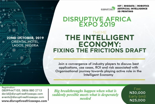 Company Growth Pack - Exhibition - Disruptive Africa Conference 2019; The Intelligent Economy