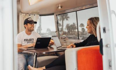 Heather DeSantis and Austin Holmes in their 23-foot Airstream trailer