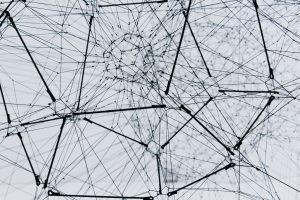 Intertwined web of strings.