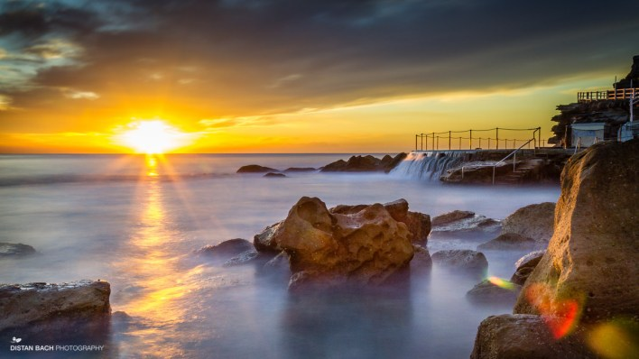 Sunrise over the rock pool