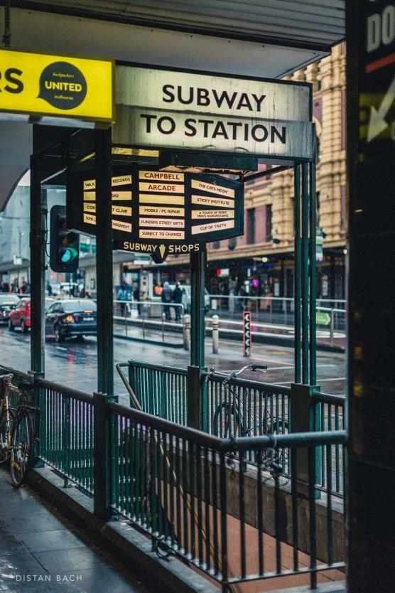 Sunday entrance on Flinders Street