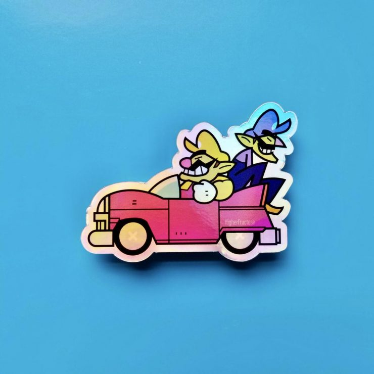 wario and waluigi in a car