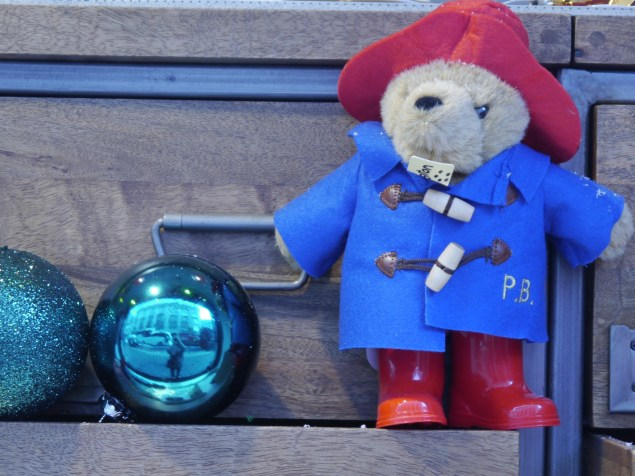 Paddington Bear with Christmas decorations in Selfridges window
