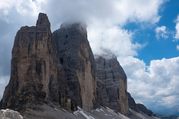 The Tre Cimes are a striking triple peaks in the Dolomites.