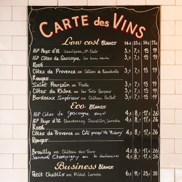 Carte de Vins Basile Paris