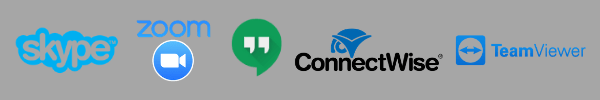Video conferencing tools: Skype, Zoom, Google Hangouts, ConnectWise, TeamViewer