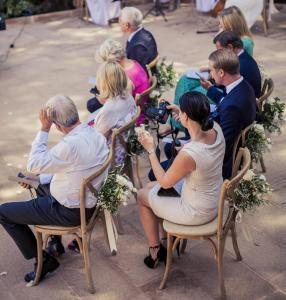 A small wedding in progress at a villa in Mallorca