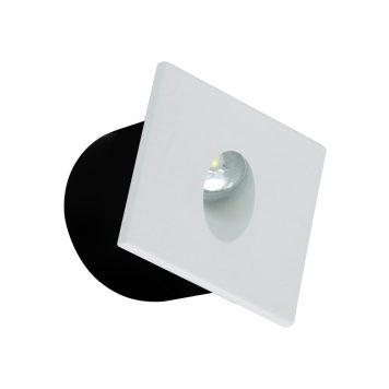 Spot LED mural à encastrer carré blanc 3W