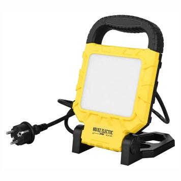 projecteur LED portable 20W jaune avec poignée et pied repliable