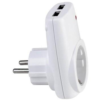 chargeur prise 16A 2P+T avec 2 prises USB